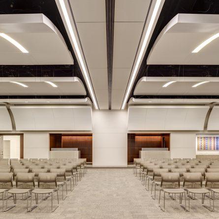 auditorium with concave white ceiling