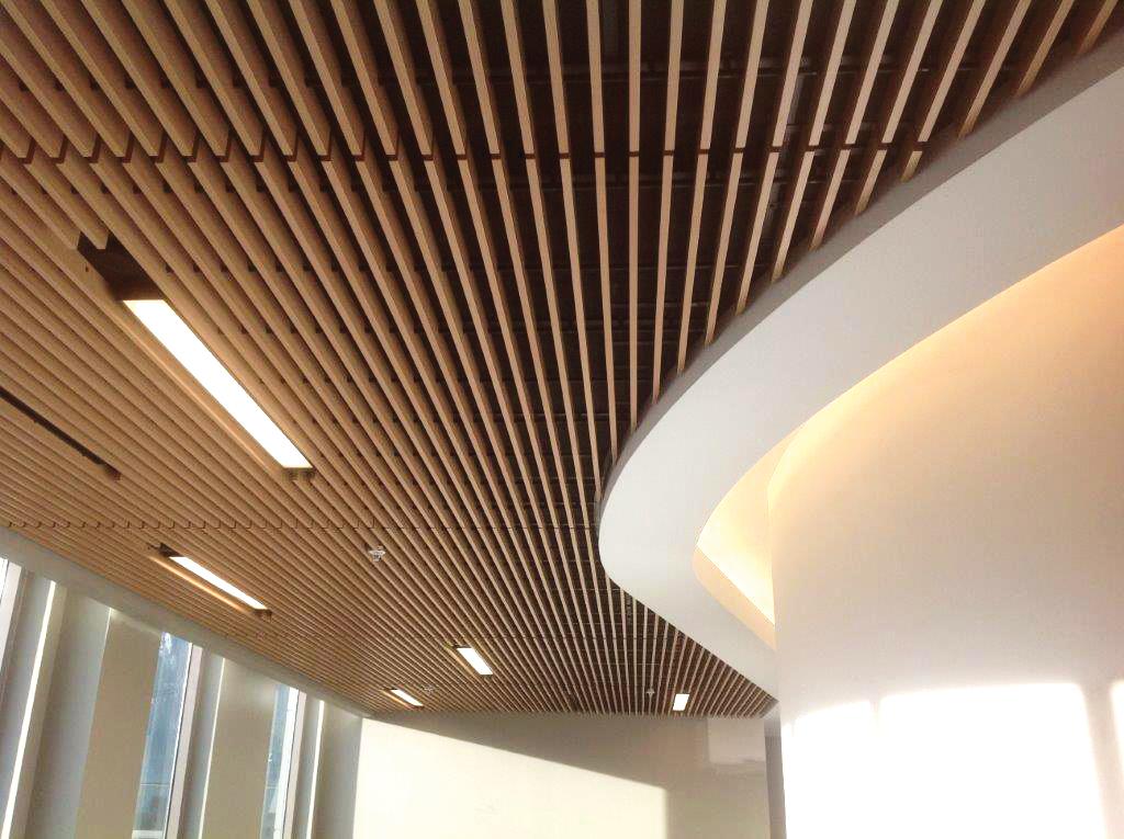 Hallway with dark wood ceiling